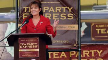 Sarah gestures during speech at Manchester NH Tea Party rally September 2011
