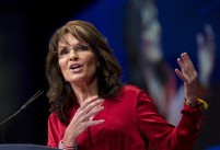 Sarah gesturing at CPAC event - larger version