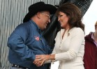 Sarah greets Ken Crow at Iowa Tea Party rally