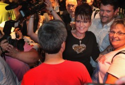 Sarah greets supporters at C4P meetup in Iowa - Todd slightly behind her