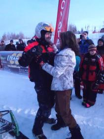 Sarah greets Todd after Iron Dog Race finish