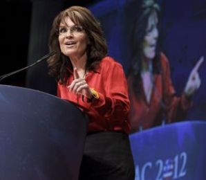 Sarah lifts finger in emphasis during 2012 CPAC speech