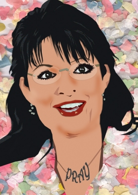 Sarah Palin - graphic with PRAY necklace