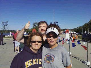 Sarah poses with teledude and his wife after marathon in Storm Lake IA