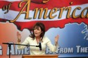 Sarah raises both hands for emphasis at Iowa Tea Party rally 2011