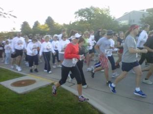 Sarah running in marathon in Storm Lake IA