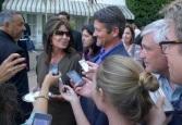 Sarah saying something to Todd at NBC press party in LA