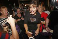 Former Governor of Alaska Sarah Palin greets supporters in Urbandale, Iowa