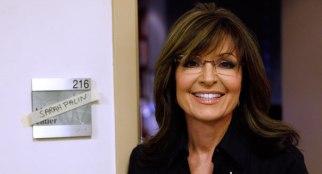 Sarah smiling outside Matt Lauer's dressing room - her name across nameplate