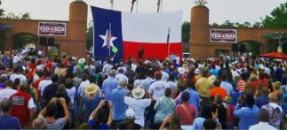Sarah speaking to crowd at Ted Cruz rally in Houston 07-27-12