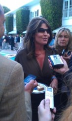 Sarah talking with press at NBC party in LA