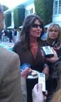 Sarah talking with press at NBC party in LA
