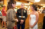 Sarah talks to newlyweds at Puritan Backroom restaurant in New Hampshire