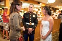 Sarah talks to newlyweds at Puritan Backroom restaurant in New Hampshire