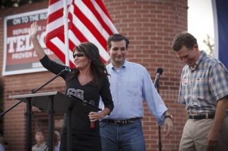 Sarah waving at crowd at Ted Cruz rally in Houston