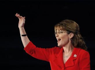 Sarah waving at New Hampshire Tea Party Event