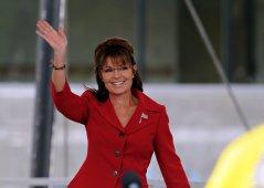 Sarah waving at Tea Party rally in Manchester NH Sept 5 2011