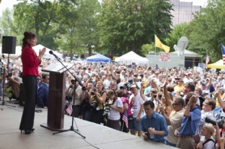 Side view of Sarah at New Hampshire Tea Part Express Speech
