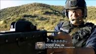 Todd fires machine gun at bunker