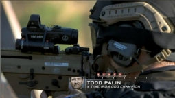 Todd firing rifle during Episode 1 of Stars Earn Stripes