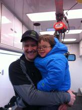 Todd holding Trig before Iron Dog 2012 start