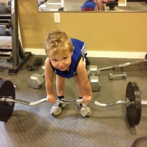 Tripp Pretending to Lift Weights