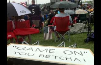 View of crowd at IA TPA event with Game On sign at rear