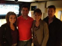 Willow Sarah and Todd on Michael Waltrip's bus