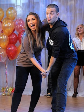 Brisotl and Mark clowning during dance at GMA party after DWTS 2010