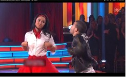 Bristol and Mark doing chicken movements in Dance 4 of DWTS All Stars