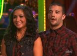 Bristol and Mark listen to judges remarks during Week 2 DWTS All Stars