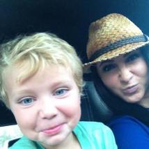 Bristol with straw hat and Tripp clowning