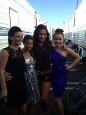 Bristol_McKinley_Willow_and_Piper pose outside DWTS trailers