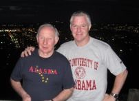 Chuck Heath Sr and Jr in Alaska and UAB T-Shirts