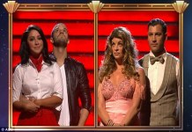 Closeup of Bristol and Mark and Kirstie Alley and partner waiting for Week 4 elimination results