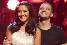 Closeup of Bristol and Mark smiling with Mark looking upward during Week 1 of DWTS All Stars