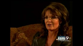 Closeup of Sarah on FOX9 interview in Idaho