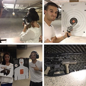 Montage of Bristol and Mark at target practice