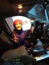 Piper in sister's truck