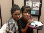 Sarah and Bristol backstage with cupcake for Tripp
