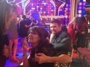 Sarah and Todd talking to someone in audience at DWTS All Stars