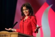 Sarah gestures during speech at SEU Leadership Forum