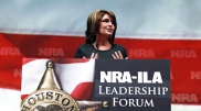 Sarah gestures with both hands during speech at 2013 NRA Convention