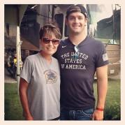 Sarah poses with TylerClary at Las Vegas Speedway