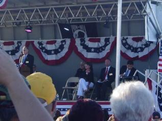 Sarah sits on stage at Buckeye AZ Vietnam veteran memorial event