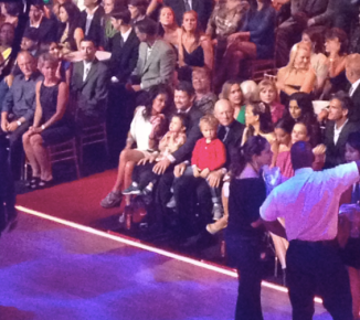 Sarah Todd Trig Tripp and family friend in audience at DWTS All Stars