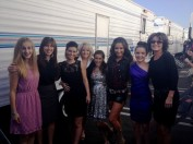 Sarah_Bristol_Piper and others outside trailers at DWTS studio
