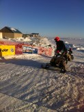 Team 11 coming into Nome checkpoint of Iron Dog Race 2013