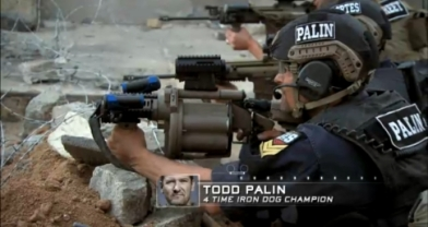 Todd aiming grenade launcher during SES finale