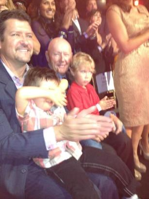 Todd Trig and Tripp in audience at Week 4 DWTS All Stars